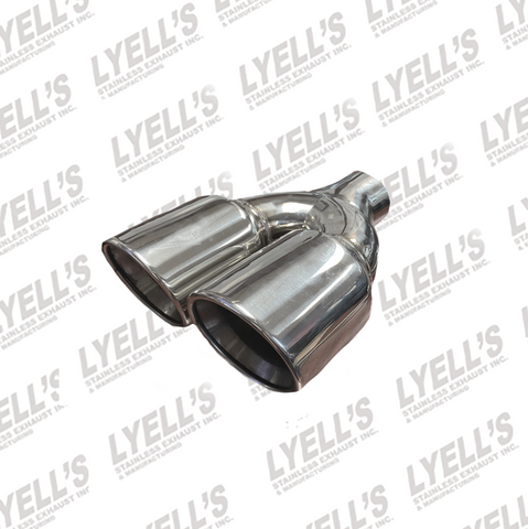 "DUAL 3 1/2"" OD ROUND - 2 1/4 "" ID INLET - 304 STAINLESS EXHAUST TIP"