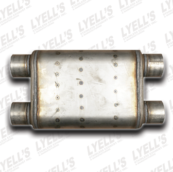 "Dual/Dual 18"" Body: 2¼"" Inlet - 2¼"" Outlet - Lyell's Stainless Exhaust Inc., Mandrel Bending Ontario"