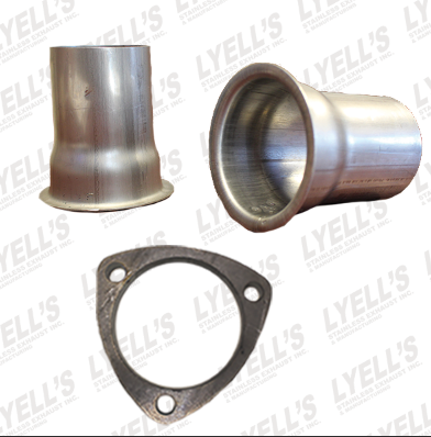 "3"" Flat Header Collectors Kit - 3"" OD: 3 Hole Flange - Lyell's Stainless Exhaust Inc., Mandrel Bending Ontario"