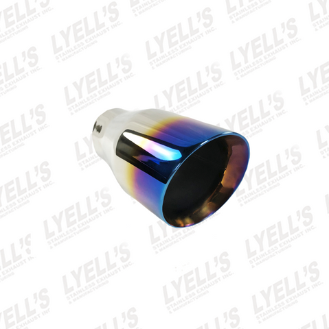 "3 1/2"" OD Round - 2 1/4 "" ID Inlet - Blue Flame 304 Stainless Exhaust Tip"