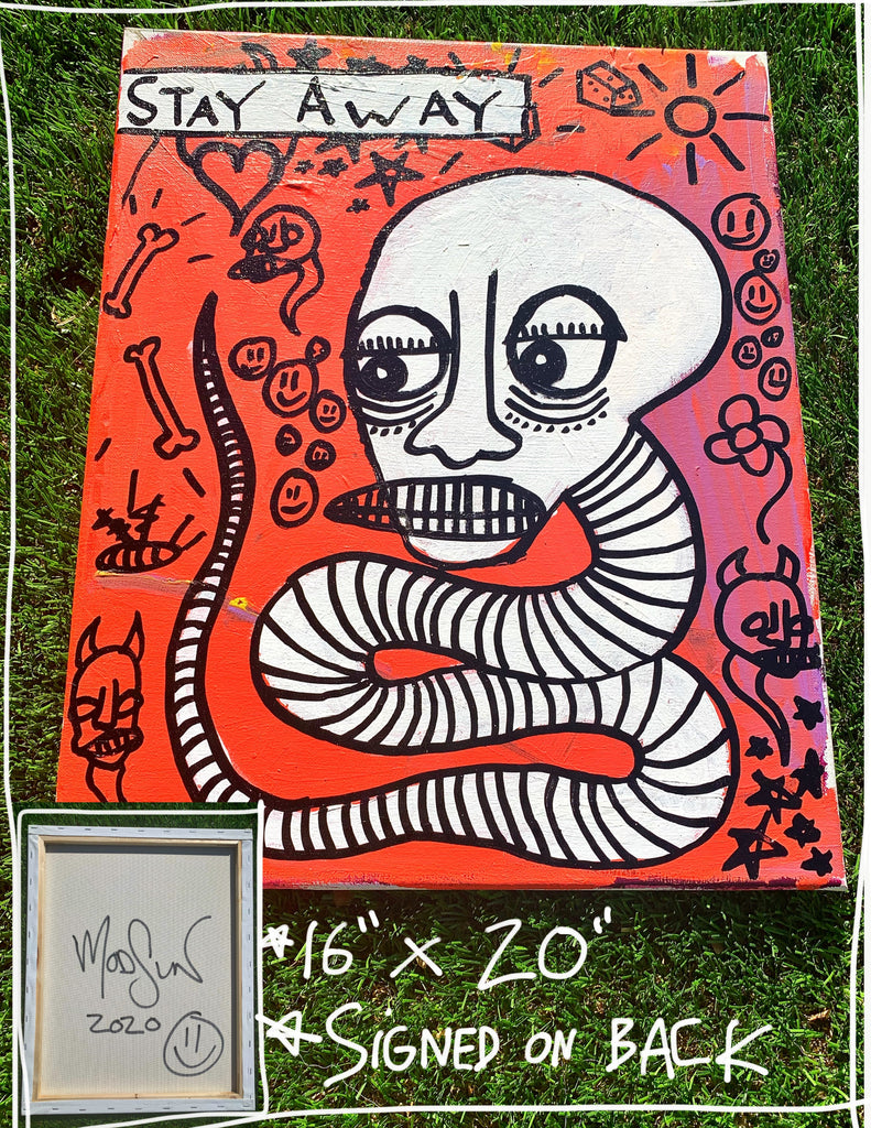 "Stay Away Snake 16"" x 20"" Mod Sun Painted Canvas"