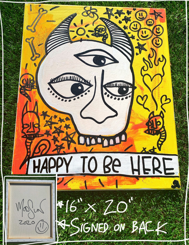 "Happy To Be Here 16"" x 20"" Mod Sun Painted Canvas"