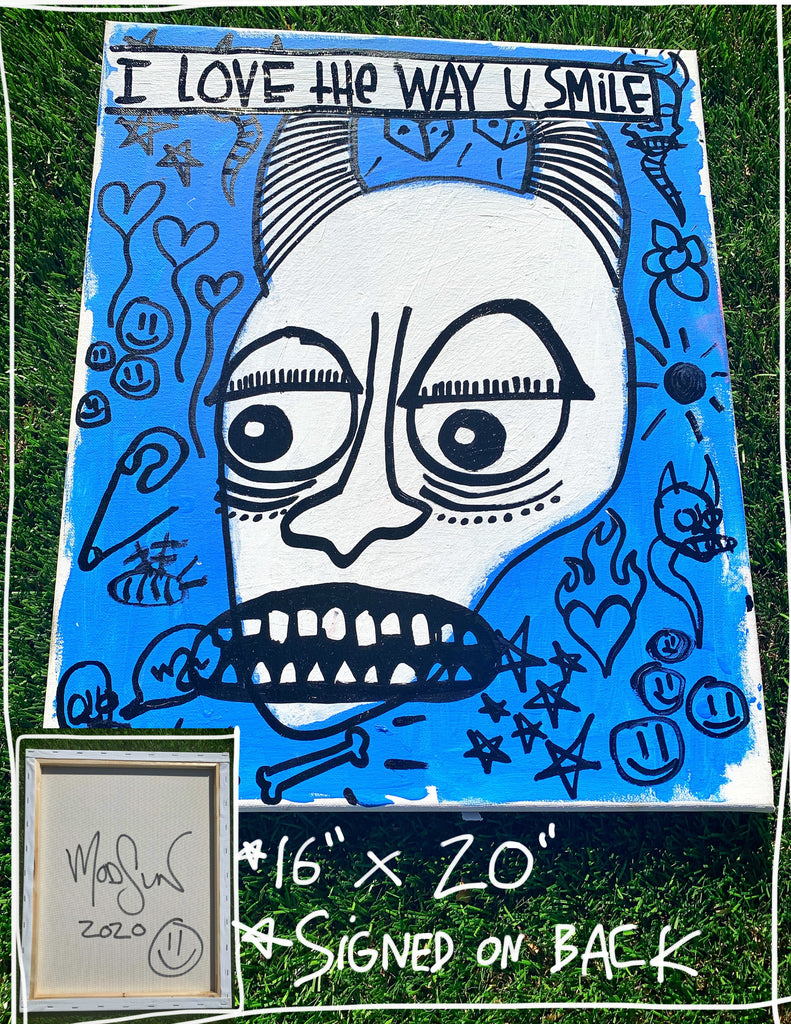 "I Love The Way You Smile 16"" x 20"" Mod Sun Painted Canvas"