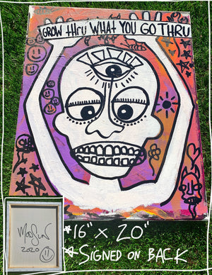 "Grow Thru 16"" x 20"" Mod Sun Painted Canvas"