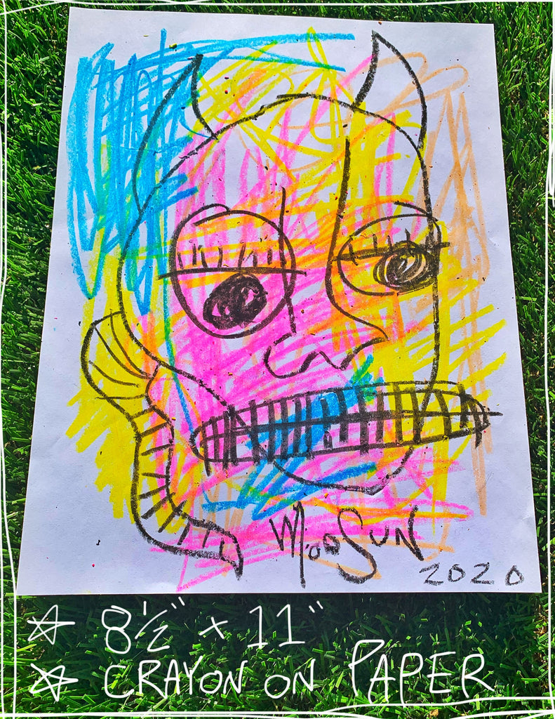 "Devil Crayon Two  8.5"" x 11"" Mod Sun Drawing"