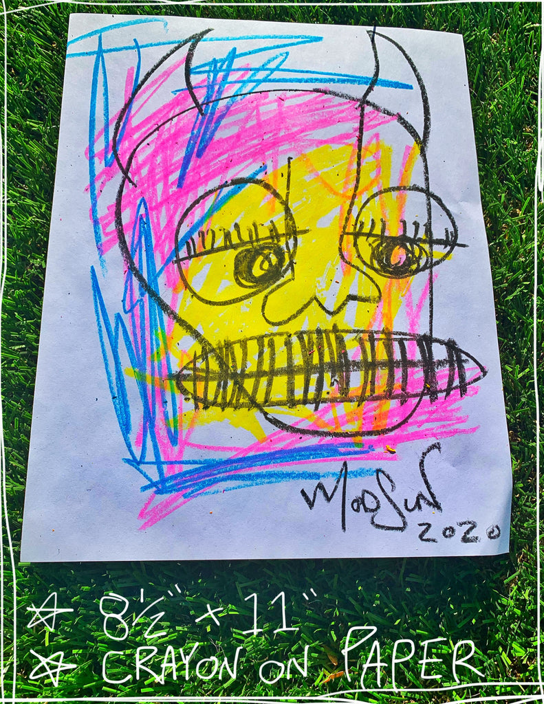 "Devil Crayon Four  8.5"" x 11"" Mod Sun Drawing"