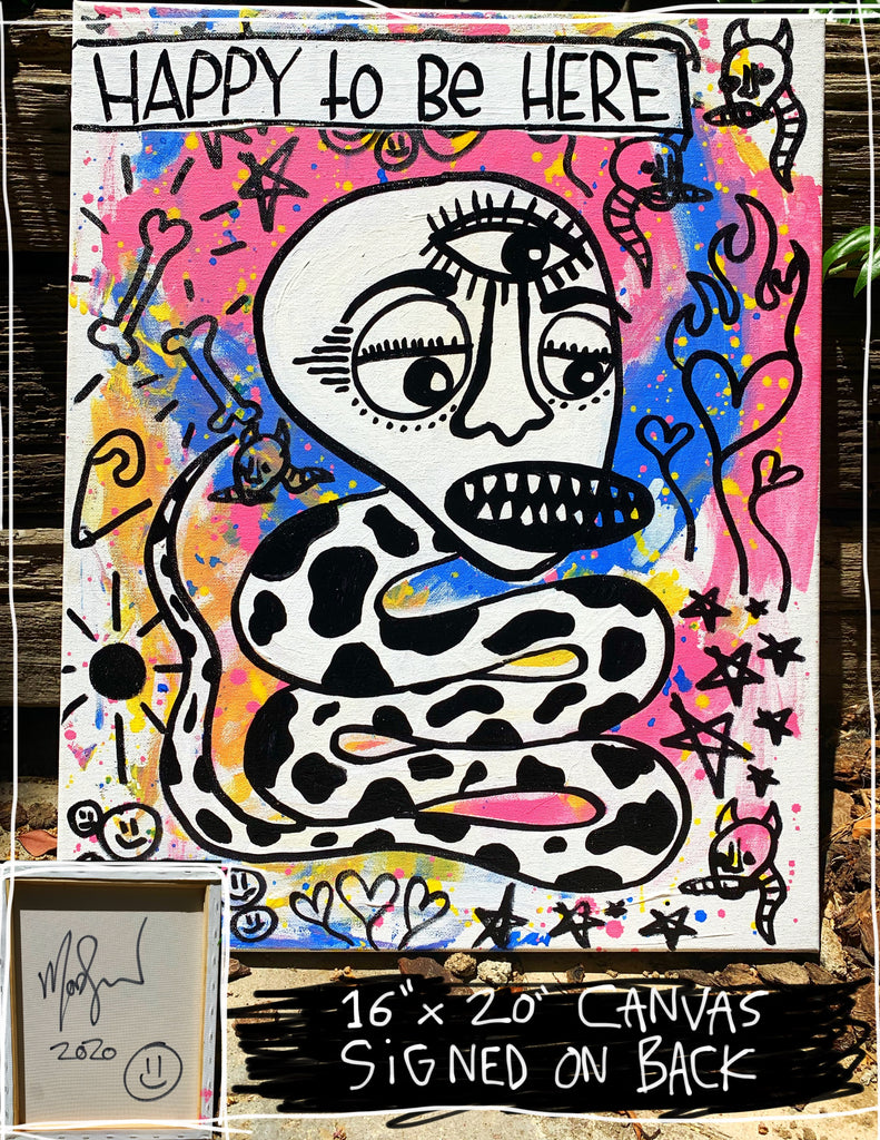 "Happy To Be Here Snake 16"" x 20"" Mod Sun Painted Canvas"