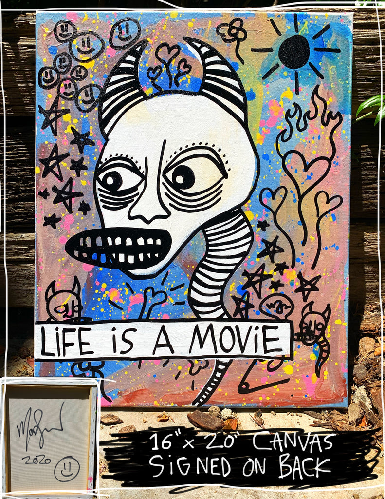 "Life Is A Movie 16"" x 20"" Mod Sun Painted Canvas"