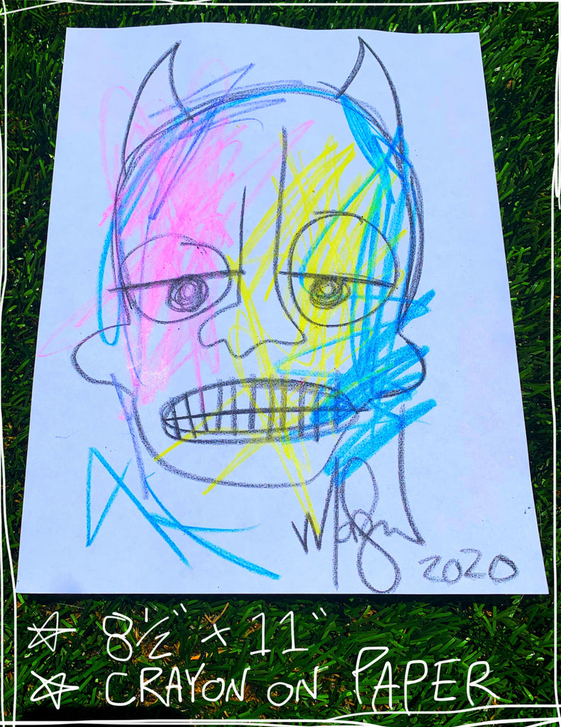 "Devil Crayon Five  8.5"" x 11"" Mod Sun Drawing"