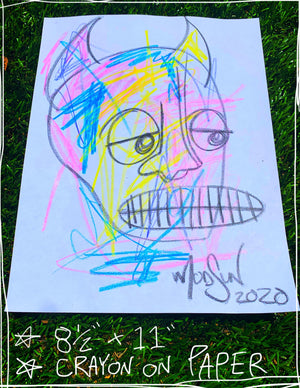 "Devil Crayon Six  8.5"" x 11"" Mod Sun Drawing"