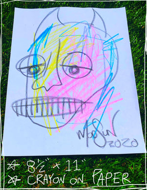 "Devil Crayon Seven  8.5"" x 11"" Mod Sun Drawing"