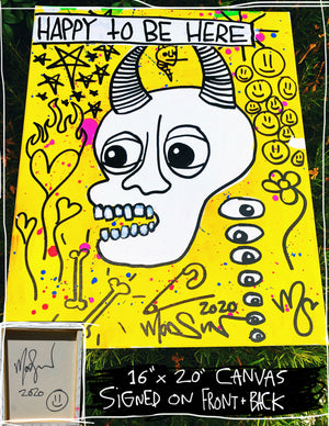 "Happy To Be Here v2 16"" x 20"" Mod Sun Painted Canvas"