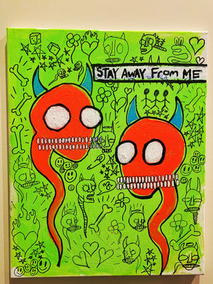 "Stay Away From Me 16"" x 20"" Mod Sun Painted Canvas"