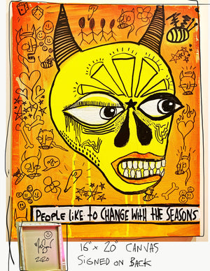 "Change With The Seasons 16"" x 20"" Mod Sun Painted Canvas"