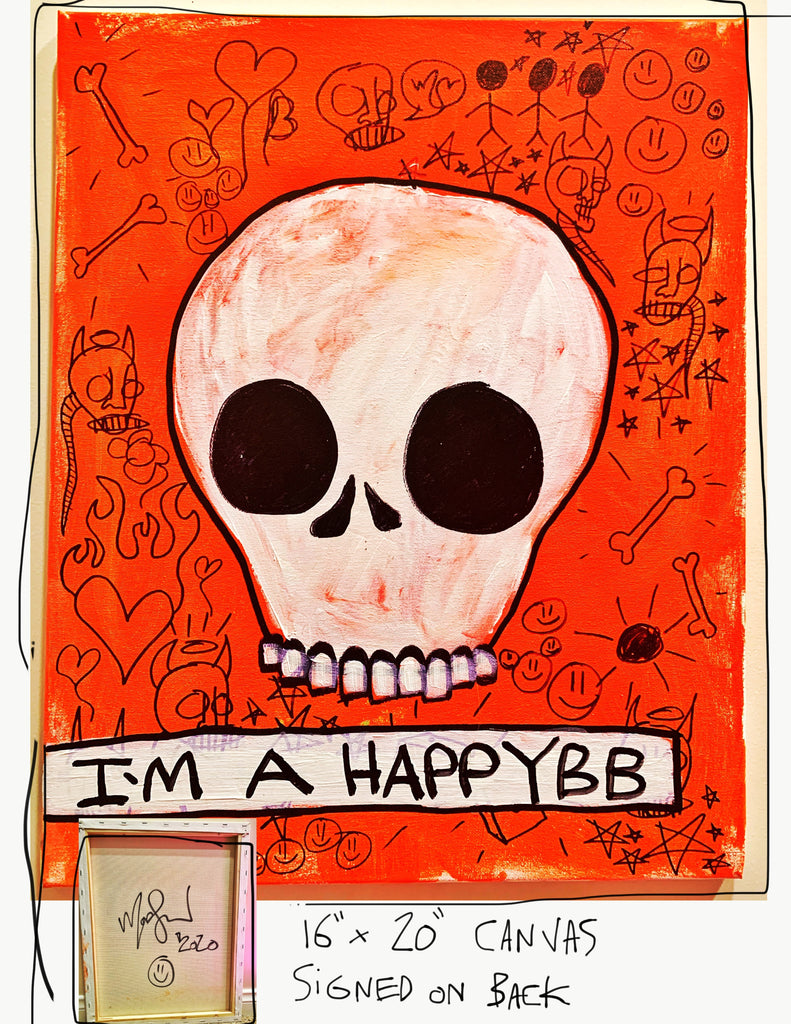 "I'm A Happy BB 16"" x 20"" Mod Sun Painted Canvas"