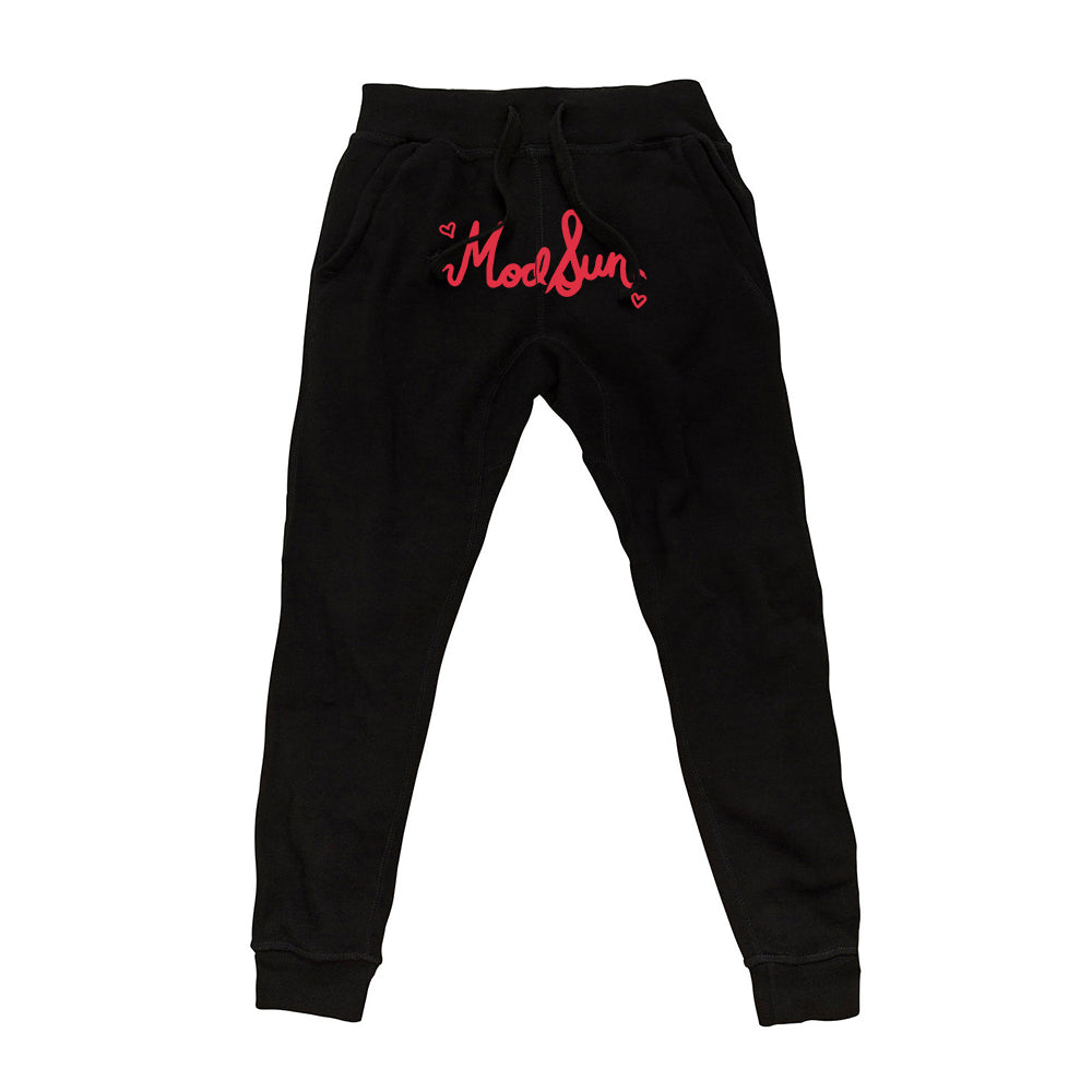 Heart Lace Logo Black Joggers