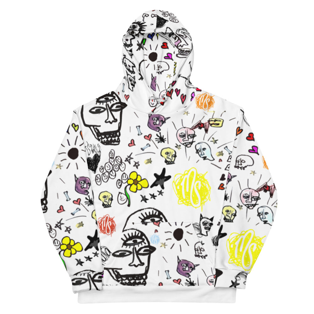 Art All Over White Hoodie