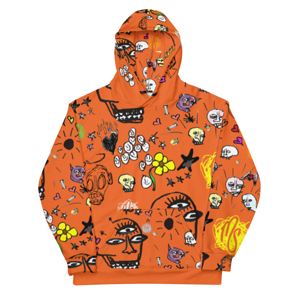 Art All Over Orange Hoodie
