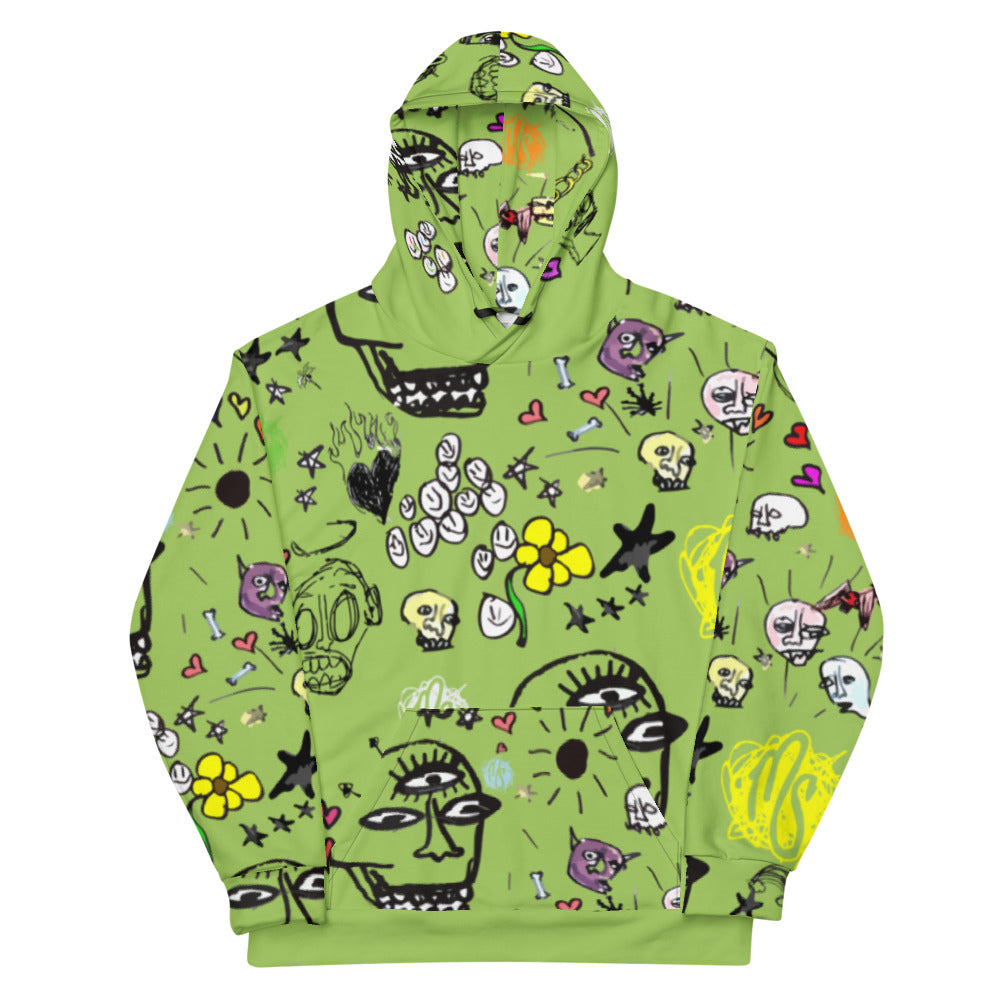 Art All Over Green Hoodie
