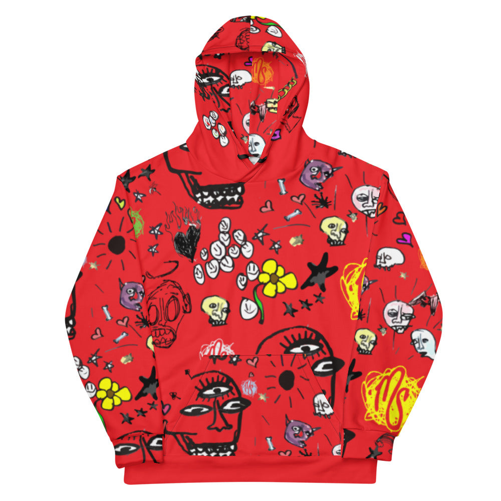 Art All Over Red Hoodie