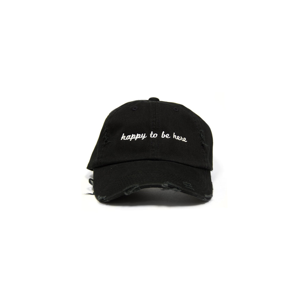 Happy To Be Here Black Distressed Hat