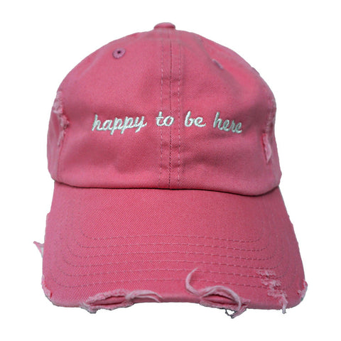 Happy To Be Here Pink Distressed Hat