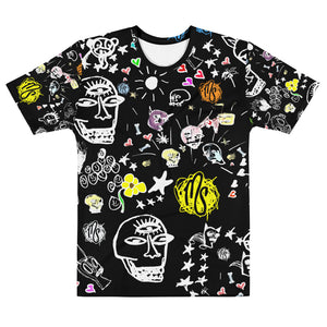 Art All Over Men's Black T-shirt