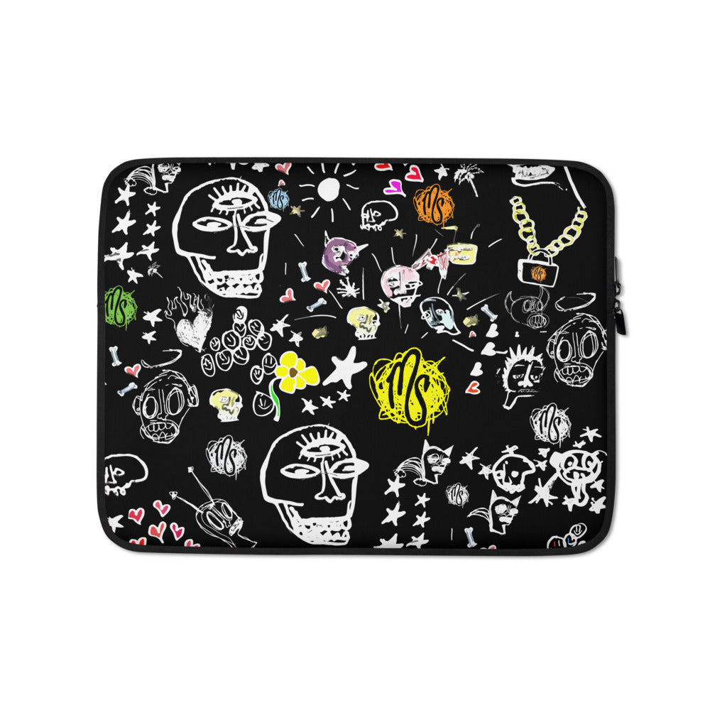 Art All Over Black Laptop Sleeve