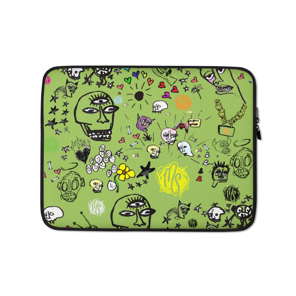 Art All Over Green Laptop Sleeve