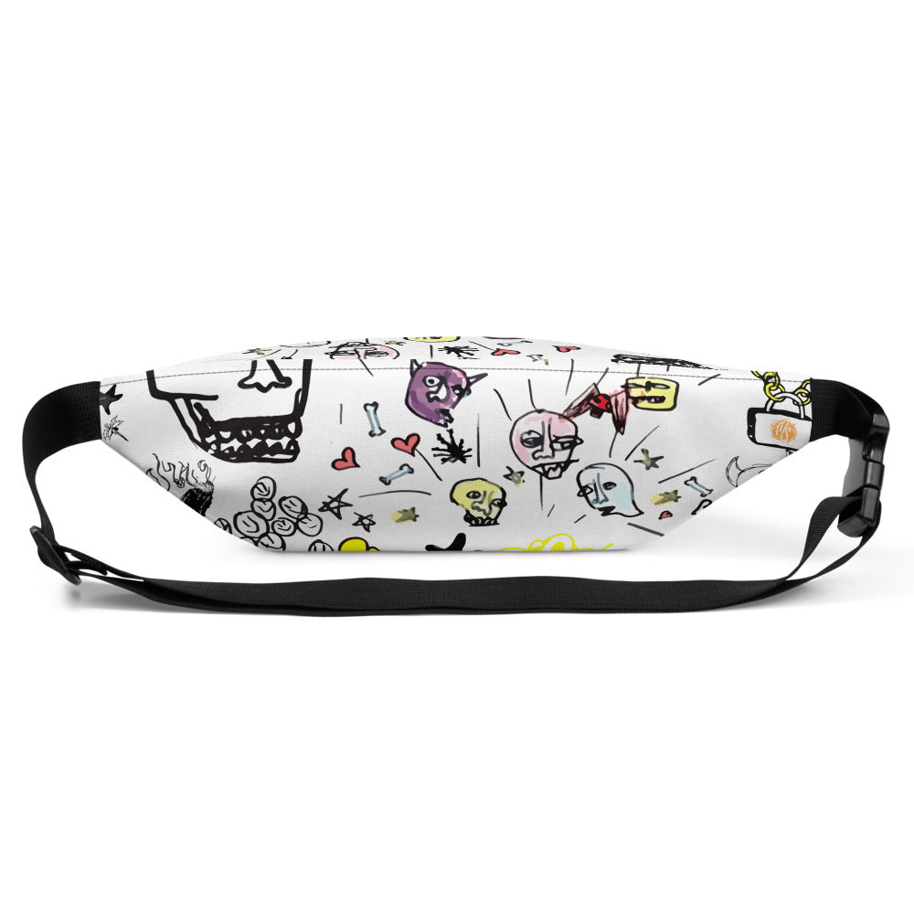 Art All Over White Fanny Pack