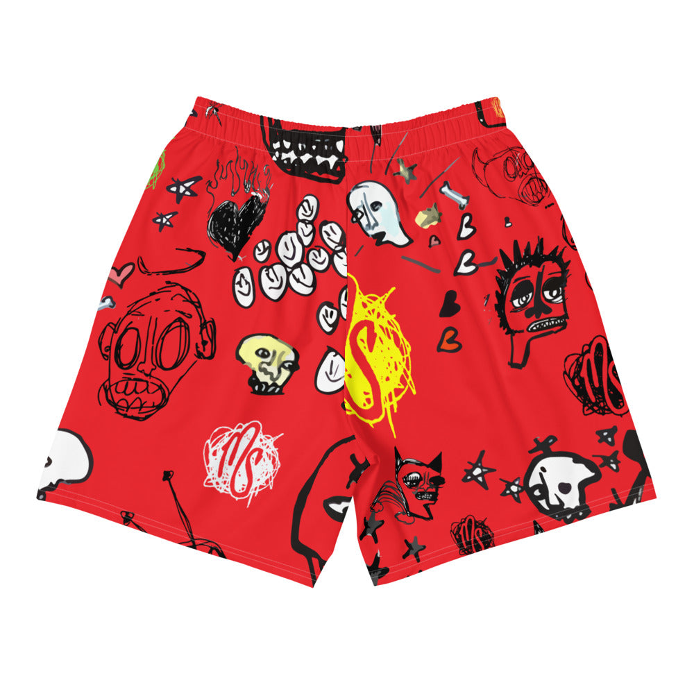 Art All Over Men's Red Shorts