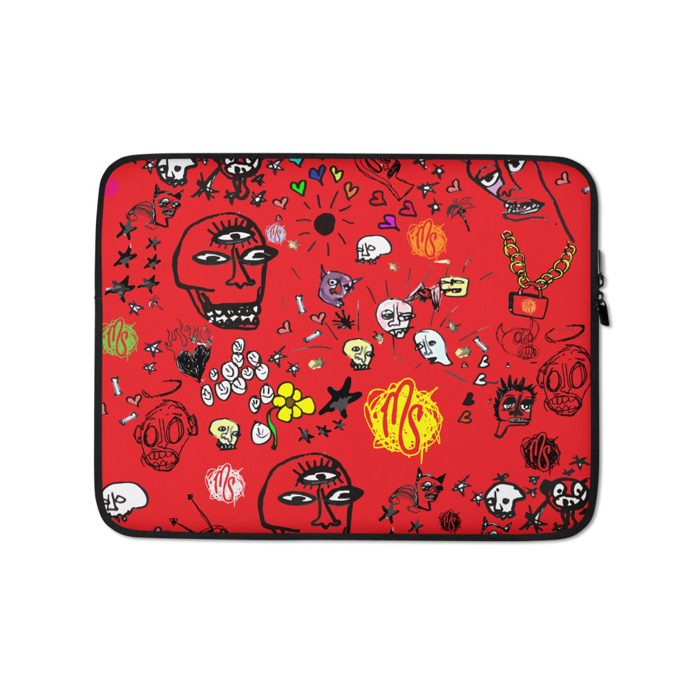 Art All Over Red Laptop Sleeve
