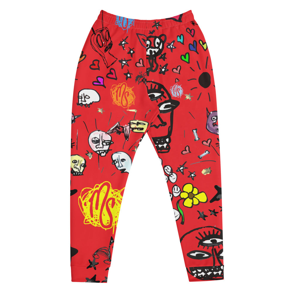 Art All Over Men's Red Joggers