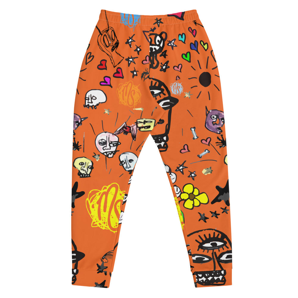 Art All Over Men's Orange Joggers