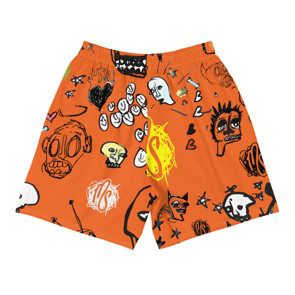 Art All Over Men's Orange Shorts