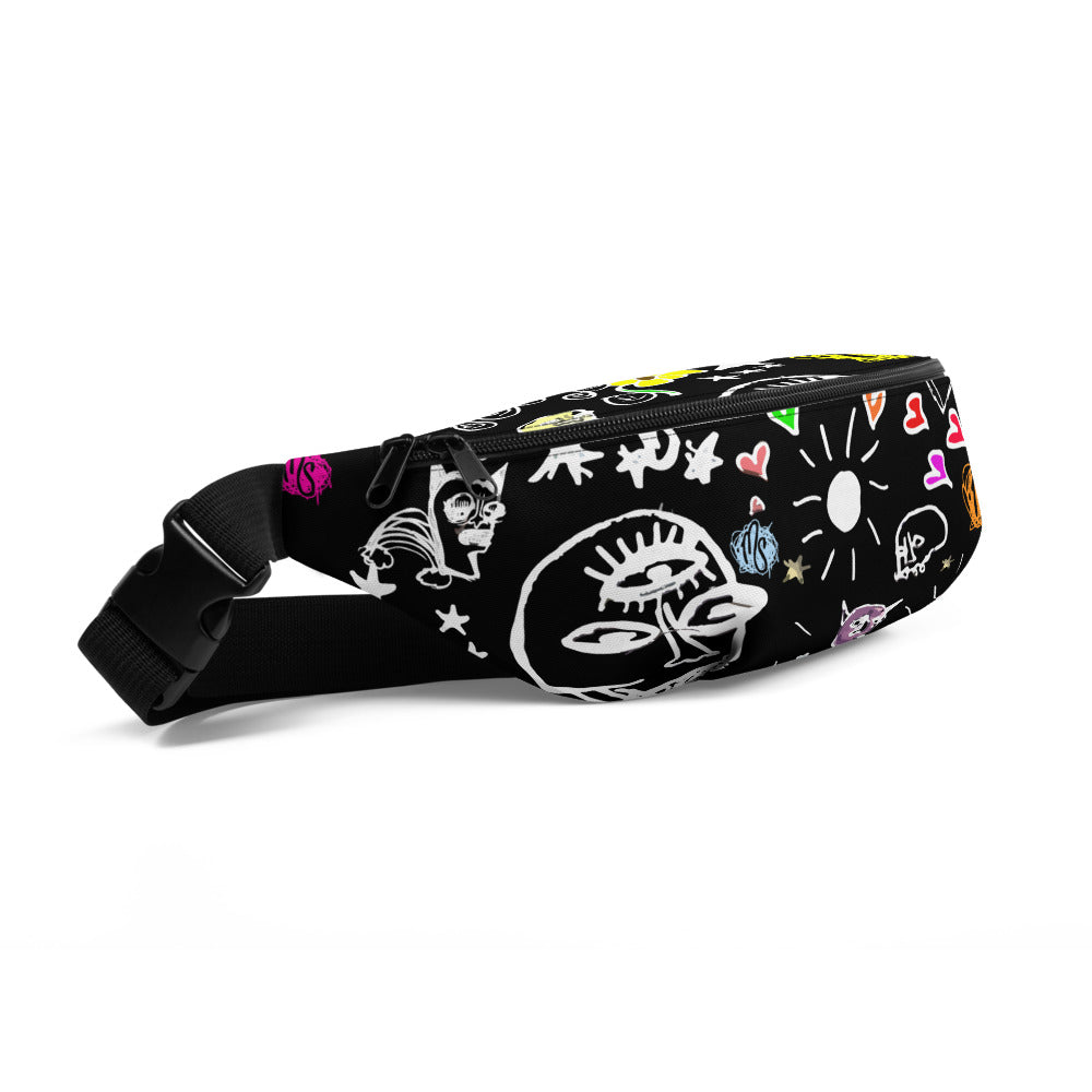 Art All Over Black Fanny Pack