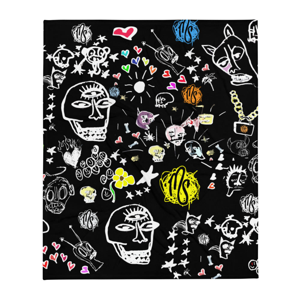 Art All Over Black Throw Blanket