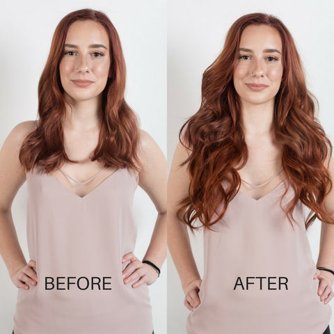 BEFORE AND AFTER Hair extensions - Vibrant Auburn 33