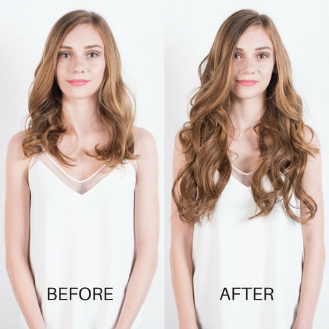 BEFORE AND AFTER Hair extensions - Chestnut Brown 6