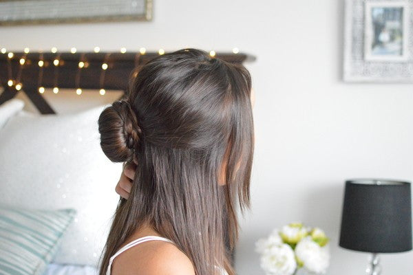 anchante hair half up braided bun hairstyle