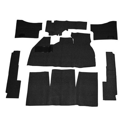CARPET SET, BLACK, DELUXE W/FOOTREST,  58-68 BEETLE SEDAN