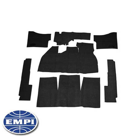 CARPET SET, BLACK, DELUXE WITHOUT FOOTREST, 58-68 BEETLE SEDAN