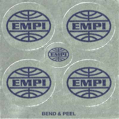 WHEEL CAP DECAL Mylar/Chrome decals with blue EMPI logo
