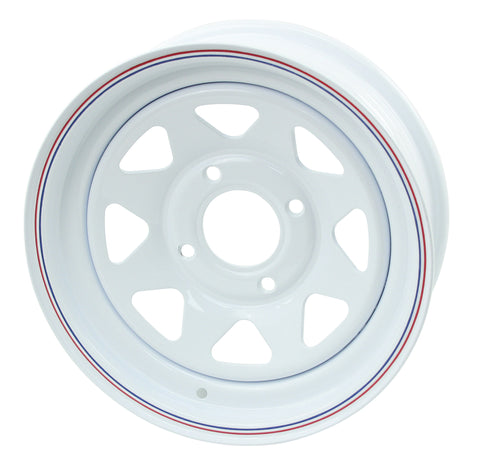 "WHITE SPOKE WHEELS 15"" X 6"" WIDE WITH 3 3/4"" BACK SPACING"