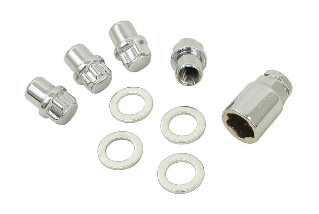 CHROME WHEEL LOCKS M12 -1.5, Acorn Nut, set of 4