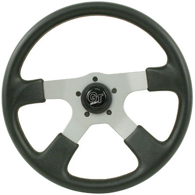 GRANT GT RALLY STEERING WHEEL, SILVER, 14-INCH