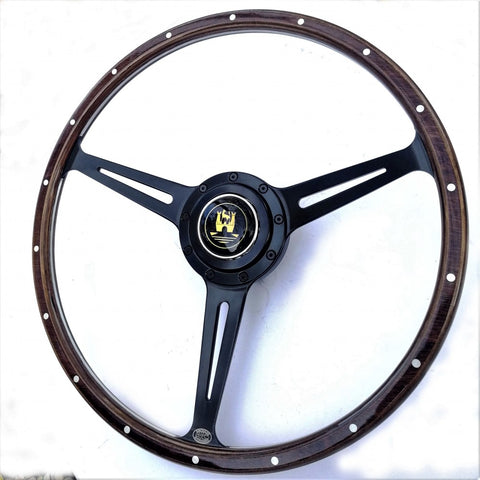 STEALTH WOLFSBURG BLACK STEERING WHEEL - EARLY BAY WINDOW BUS