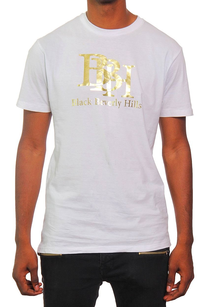 4ab562b9e CLASSIC BBH WHITE AND GOLD MEN'S T-SHIRT - BlackBH