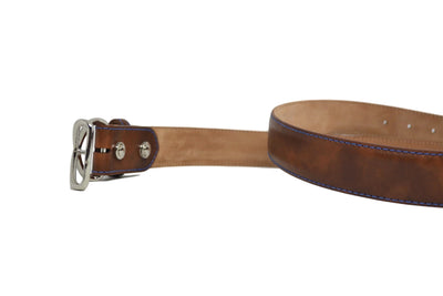 MUSEUM COGNAC BELT W/ BLUE STITCHING