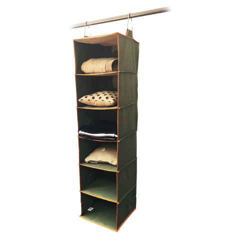Closet Complete 6 Shelf Hanging Organizer, Olive Green